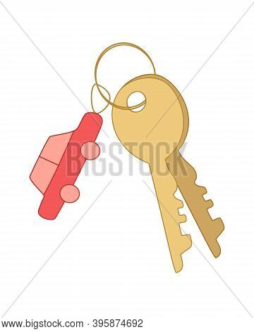 Keys On A Bunch And A Keychain In The Form Of A Car. Concept Of Keys To Car, Buying Or Renting Car.