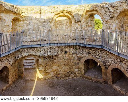 View Of The Octagonal Guard Tower Of Antipatris Fort (binar Bashi), In Yarkon (tel Afek) National Pa