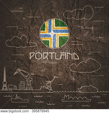 Portland Sea Port, Marine Cargo Terminal, Freight Vessels Or Ships Carrying Containers Drawn With Co