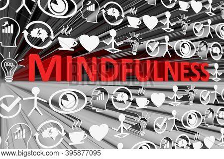 Mindfulness Concept Blurred Background 3d Render Illustration