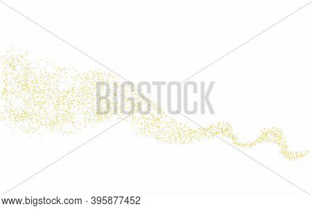 Wavy Strip Sprinkled With Crumbs Golden Horizontal Texture. Background Gold Dust On A White Backgrou
