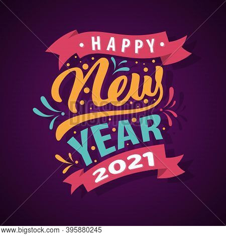 Collection Of 2021 Happy New Year Signs Symbols. Vector Illustration Happy New Year 2021 Colorful Le