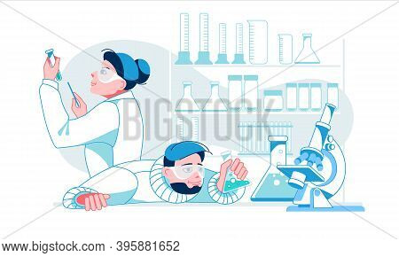 Two Scientists Working At Laboratory. Man And Woman Experiment Doing Chemical Experiment. Two Lab As