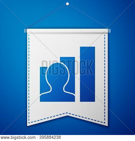 Blue Productive Human Icon Isolated On Blue Background. Idea Work, Success, Productivity, Vision And
