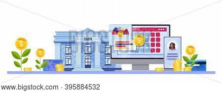 Online Bank Or Virtual Money Account Finance Vector Concept With Building Facade, Smartphone, Comput