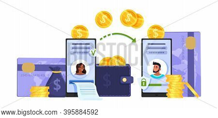 Money Transfer Or Mobile Online Transaction Vector Concept With Smartphones, Credit Cards, Coins. Di