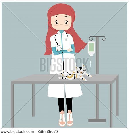 Vector Of Veterinarian , Hijab Veterinarian Gives Saline Solution In Cat's Hand