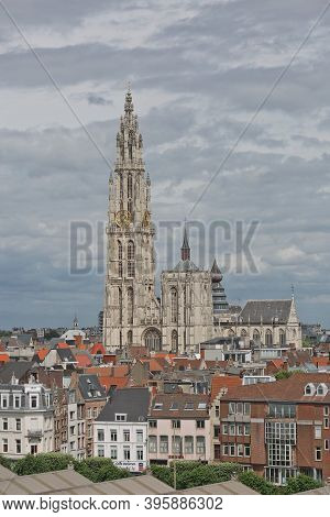 Cityscape And A Cathedral Of Our Lady In Antwerp Belgium