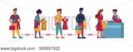 Clothing Store Social Distance, People In Masks Queue Line With Clothes In Hands, Flat. Coronavirus