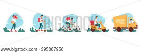 Delivery Courier Service, Express Delivering Icons Flat Cartoon. Delivery Couriers On Bicycle Or Mop