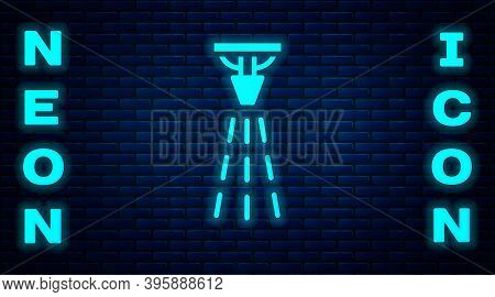 Glowing Neon Fire Sprinkler System Icon Isolated On Brick Wall Background. Sprinkler, Fire Extinguis