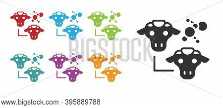 Black Cloning Icon Isolated On White Background. Genetic Engineering Concept. Set Icons Colorful. Ve