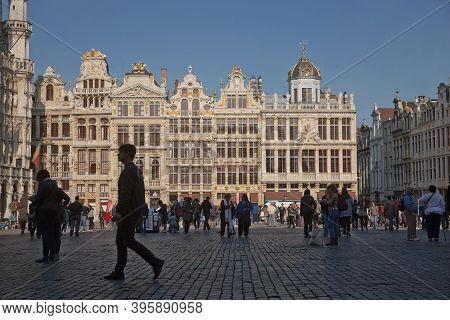 Tourists Visiting The Grand Place In Brussels In Belgium During Summer