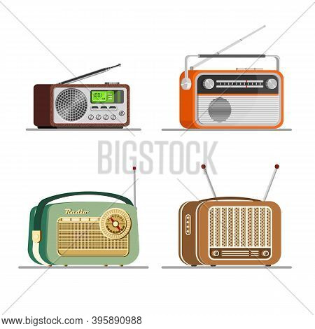 Radio Tuners Set. Vector Illustration Of Vintage And Modern Radio Receivers, Flat Style. Radio Colle