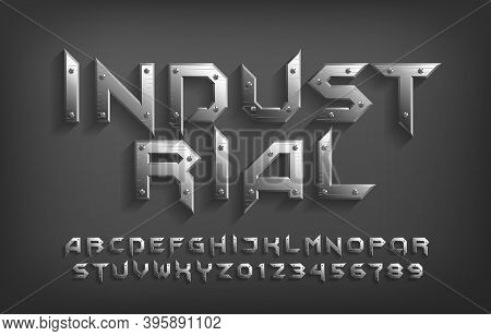 Industrial Alphabet Font. Metallic Letters And Numbers. Stock Vector Typeface For Your Design.