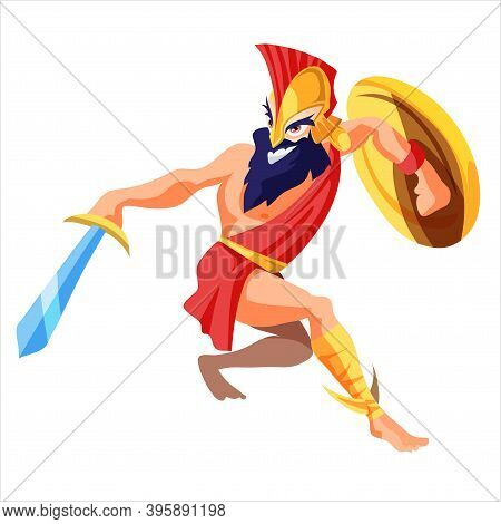 Man Or Ares Greek God Stands In Armor Holding Sword And Shield Cartoon Style, Vector Illustration Is