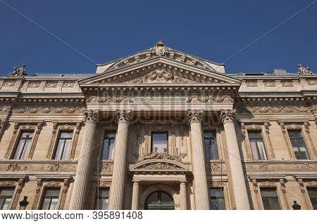 Famous Building Of Stock Exchange (bourse De Bruxelles, Beurs Van Brussel). Building Was Erected Fro