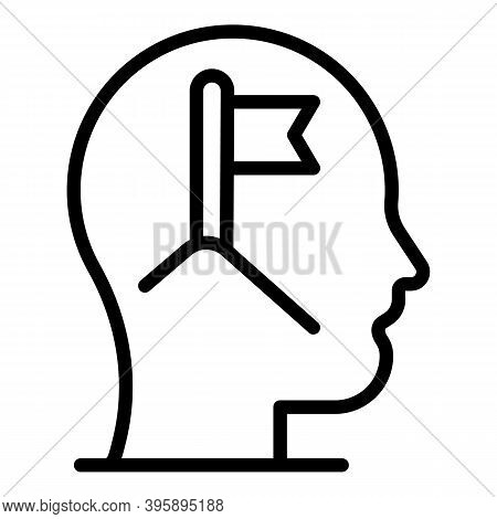 Mind Flag Mentor Icon. Outline Mind Flag Mentor Vector Icon For Web Design Isolated On White Backgro