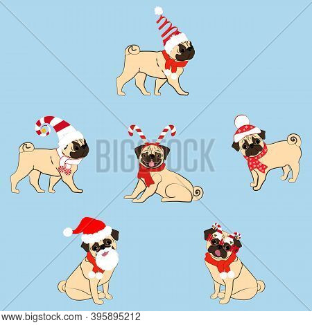 Pug Dogs In Christmas Costume Vector Illustration