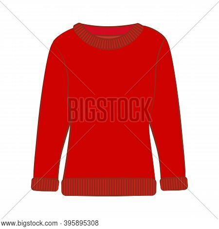 Winter Warm Casual Red Sweater Vector Illustration