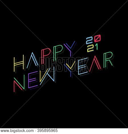 Collection Of 2021 Happy New Year Signs Symbols. Techno Design Vector Of New Year 2021 With Multiple