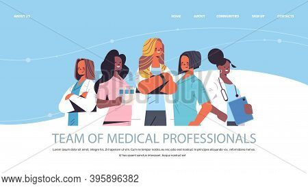 Team Of Medical Professionals Mix Race Women Doctors In Uniform Standing Together Medicine Healthcar