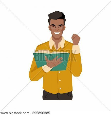 Man Enjoys Reading Book Isolated Afro American Flat Cartoon Character Feeling With Novel Or Poetry.