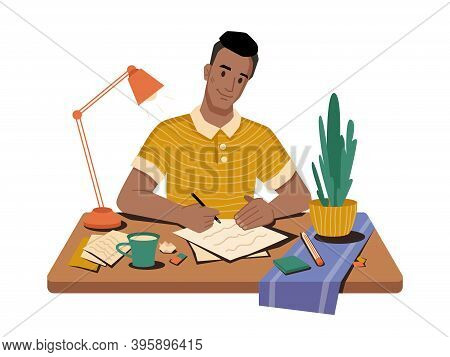 Journalist At Workplace Writing Article Or Post Sitting On Table, Cup Of Tea Or Coffee, Papers And P
