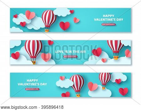 Set Of Horizontal Banners With Hot Air Balloon In Blue Sky And Paper Cut Clouds. Romantic Adventure