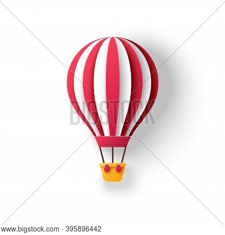 Hot Air Balloon In Paper Cut Style With Red Stripes. Travel And Explore 3d Icon Isolated On White Ba