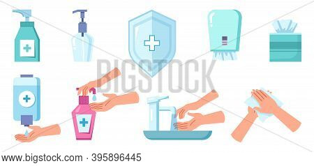 Hand Hygiene, Sanitizer And Liquid Soap, Napkins Box And Washing Tools Isolated Set. Vector Cleaning