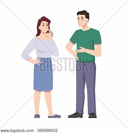 Man And Woman Offended, Upset, At Loss, Emotional Suffer And Sorrow, Offended Married Wife And Husba