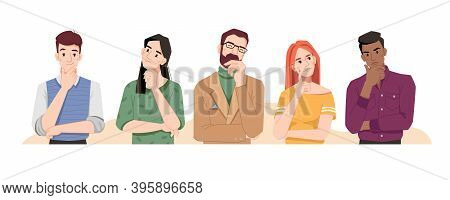 Puzzled People Wondering Or Thinking, Planning Or Pondering. Men And Women Full Of Thoughts, Holding