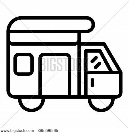Camper Truck Icon. Outline Camper Truck Vector Icon For Web Design Isolated On White Background