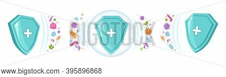 Shield Immune With Hospital Sign, Protection From Viruses And Bacteria. Vector Defense From Medical