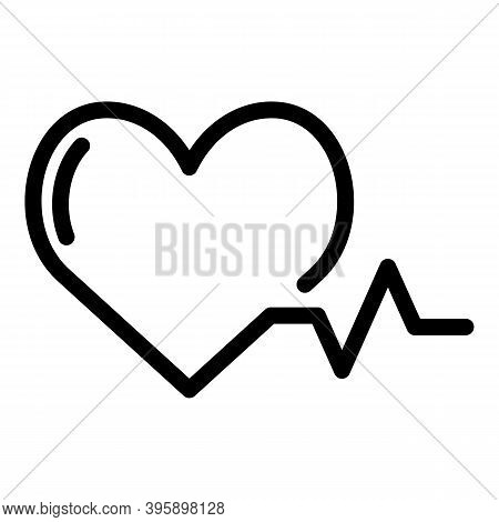 Heart Beat Icon. Outline Heart Beat Vector Icon For Web Design Isolated On White Background