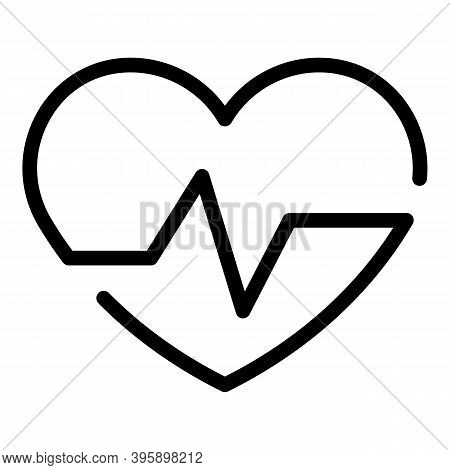 Heart Pulse Icon. Outline Heart Pulse Vector Icon For Web Design Isolated On White Background