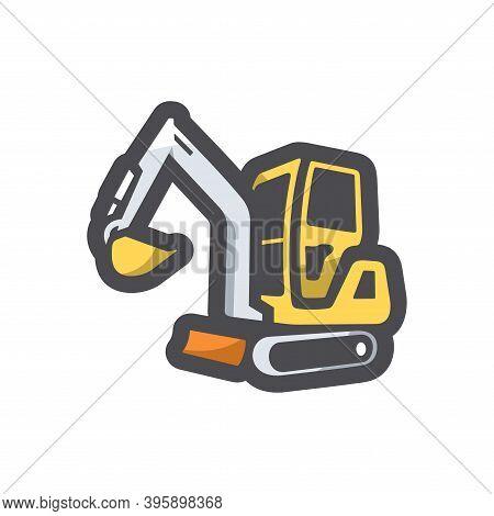 Excavator With Bucket Vector Icon Cartoon Illustration
