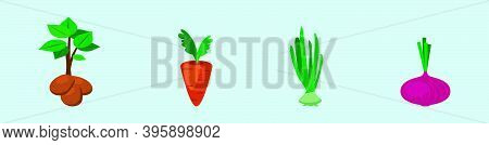 A Set Of Potato, Carrot, Shallot And More Icon Design Template With Various Models. Modern Vector Il