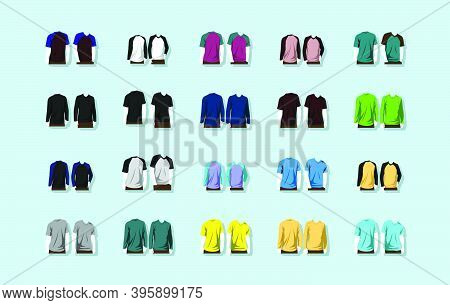 Set Of Raglan Round Neck T-shirts Cartoon Icon Design Template With Various Models. Modern Vector Il