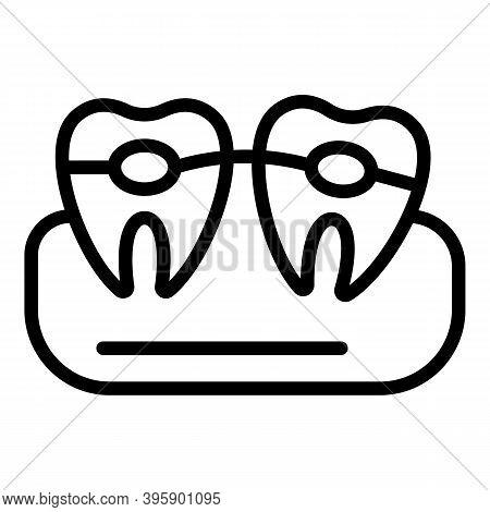 Molar Teeth Braces Icon. Outline Molar Teeth Braces Vector Icon For Web Design Isolated On White Bac