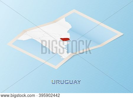 Folded Paper Map Of Uruguay With Neighboring Countries In Isometric Style On Blue Vector Background.