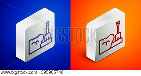 Isometric Line Shovel In Snowdrift Icon Isolated On Blue And Orange Background. Silver Square Button