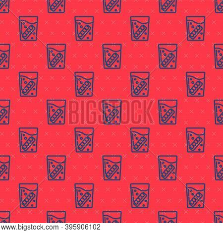 Blue Line False Jaw In Glass Icon Isolated Seamless Pattern On Red Background. Dental Jaw Or Denture