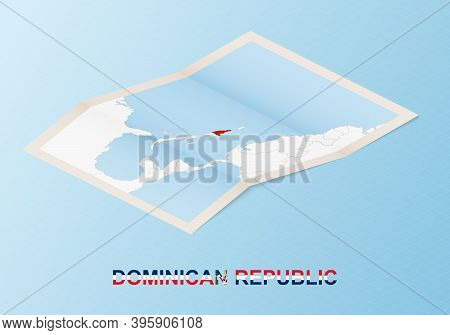 Folded Paper Map Of Dominican Republic With Neighboring Countries In Isometric Style On Blue Vector