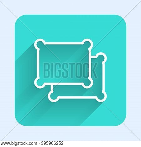 White Line Rectangular Pillow Icon Isolated With Long Shadow. Cushion Sign. Green Square Button. Vec
