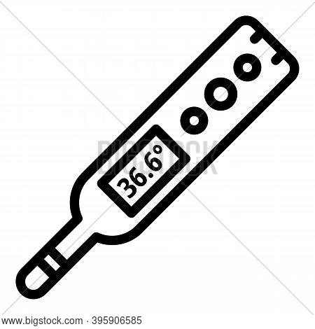 Fever Digital Thermometer Icon. Outline Fever Digital Thermometer Vector Icon For Web Design Isolate