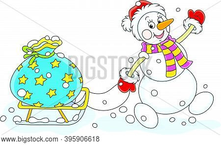 Friendly Smiling Snowman With A Red Hat, A Warm Scarf And Mittens Carrying A Big Bag Of Winter Holid