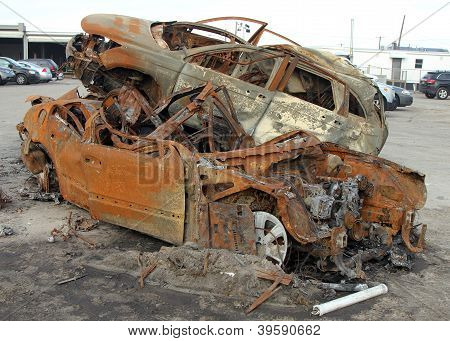 Burned Cars In The Aftermath Of Hurricane Sandy