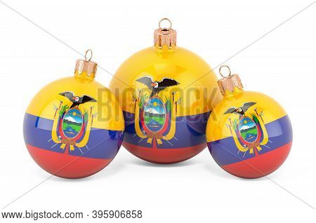 Christmas Baubles With Ecuadorian Flag, 3d Rendering Isolated On White Background
